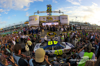 Championship victory lane: NASCAR Sprint Cup Series 2010 champion Jimmie Johnson, Hendrick Motorsports Chevrolet celebrates