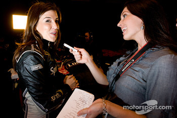 Miss Sprint Cup Monica Palumbo and former Miss Sprint Cup Anne-Marie Rhodes have fun