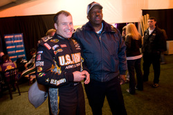 Ryan Newman, Stewart-Haas Racing Chevrolet and a security guard share a laugh