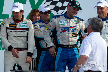 GT victory lane: class winners Brendan Gaughan, Wolf Henzler and Andy Lally