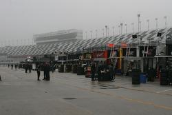 A wet garage area