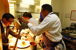 Michael Caines  and the team of chef's in kitchen preparing lunch