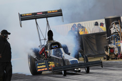 Troy Buff doing a burnout in his BME / Okuma Top Fuel Dragster