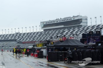 Rain falls on Daytona International Speedway in the morning