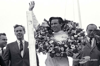 Podium: race winner Jim Clark with Keith Duckworth to his right.