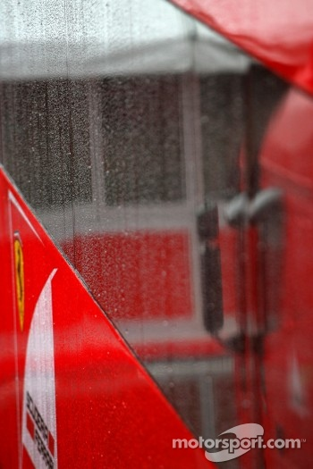 Heavy rain hits circuit de Catalunya for the last day of testing, Scuderia Ferrari truck