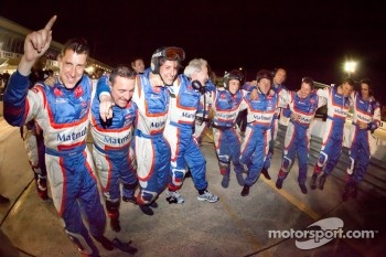 Team Oreca Matmut team members celebrate victory