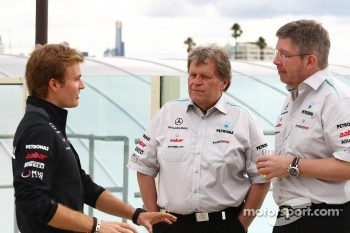 Nico Rosberg, Mercedes GP Petronas F1 Team with  Norbert Haug, Mercedes, Motorsport chief and Ross Brawn (GBR) Team Principal, Mercedes GP Petronas