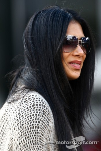 Nicole Scherzinger singer in the Pussycat dolls and girlfriend of Lewis Hamilton, McLaren Mercedes