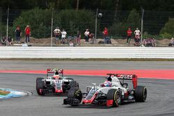 Romain Grosjean, Haas F1 Team VF-16 leads team mate Esteban Gutierrez, Haas F1 Team VF-16