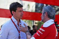 (L to R): Toto Wolff, Mercedes AMG F1 Shareholder and Executive Director with Maurizio Arrivabene, Ferrari Team Principal
