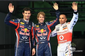Pole winner Sebastian Vettel, Red Bull Racing, second place Lewis Hamilton, McLaren Mercedes, third place Mark Webber, Red Bull Racing
