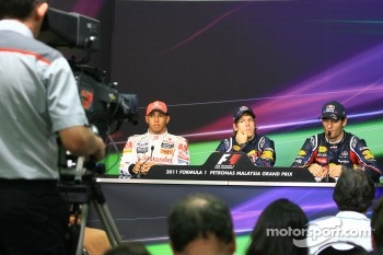 Press conference: pole winner Sebastian Vettel, Red Bull Racing, second place Lewis Hamilton, McLaren Mercedes, third place Mark Webber, Red Bull Racing