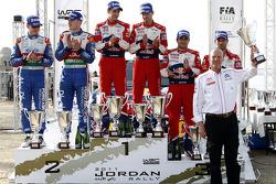 Podium: rally winners Sébastien Ogier and Julien Ingrassia, second place Jari-Matti Latvala and Miikka Anttila, third place Sébastien Loeb and Daniel Elena