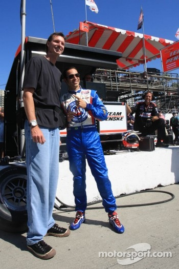Baseball great Randy Johnson with Helio Castroneves, Team Penske