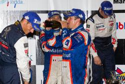 P1 podium: champagne celebrations