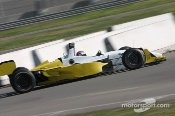 Justin Wilson tests the unpainted Rusport Lola