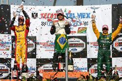 Podium: race winner Bruno Junqueira with Andrew Ranger and Alex Tagliani