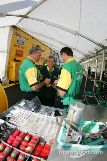 Team Australia Racing crew members at work