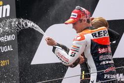 Podium: race winner Dani Pedrosa