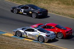 Start: #15 Ferrari of San Diego Ferrari 458 Challenge: Juan Barazi and #59 Algar Ferrari Ferrari 458 Challenge: John Farano collide