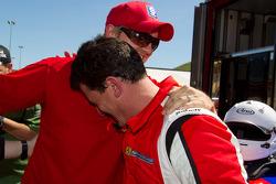 Race winner #22 Ferrari of Ft. Lauderdale Ferrari 458 Challenge: Enzo Potolicchio celebrates with Ryan Dalziel