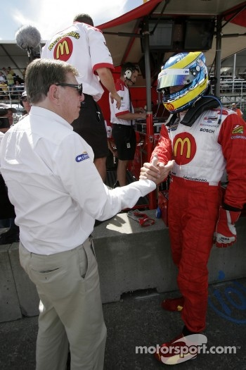 Carl Haas congratulates Sbastien Bourdais for winning the provisional pole