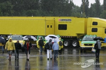 Heavy rain falls on the paddock