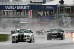 Pace cars lead the field on pace laps