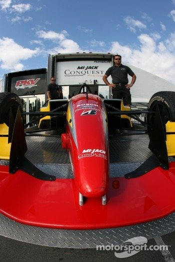 Conquest Racing car is unloaded