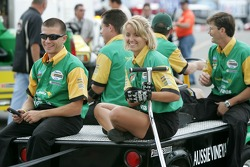 Team Australia crew members take the car back to the paddock