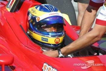 Sébastien Bourdais is unstrapped from his car after winning the provisional pole