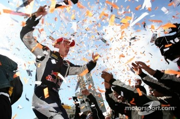 Race winner Robert Doornbos celebrates