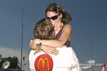 Polesitter Sbastien Bourdais celebrates with his wife Claire