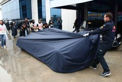 Sebastian Vettel, Red Bull Racing after he crashed on FP1