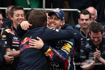 Red Bull team celebration Christian Horner, Red Bull Racing, Sporting Director, Sebastian Vettel, Red Bull Racing