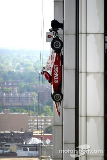 Stunt with an IRL car on a building at Indianapolis