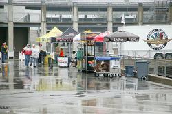 Rain falls on food stands