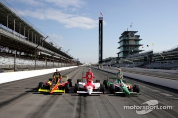 Front row for the 89th running of the Indianapolis 500: pole winner Tony Kanaan with Sam Hornish Jr. and Scott Sharp