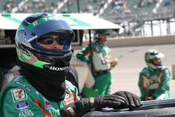 Andretti Green Racing crew member watches the end of the race