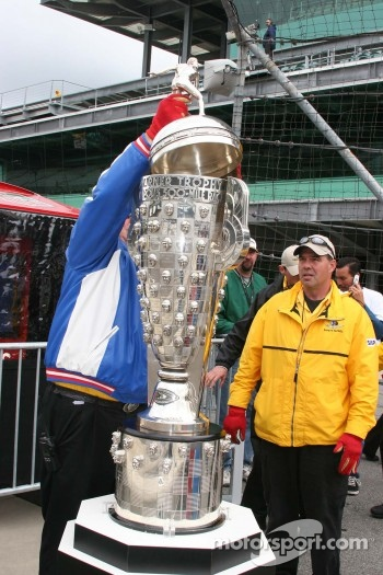 The top is placed is on the Borg Warner Trophy
