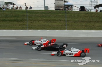 Helio Castroneves, Marty Roth and Sam Hornish Jr.