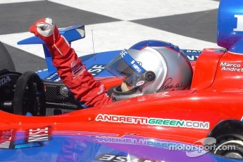 Race winner Marco Andretti celebrates