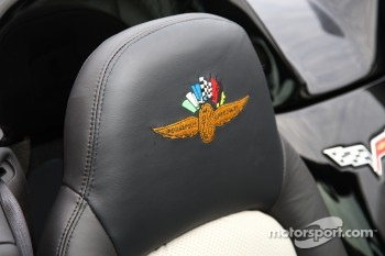 The famed IMS Wing and Wheel logo is embroidered into the headrest of the 2008 Indy 500 30th anniversary commemorative edition Corvette Pace Car