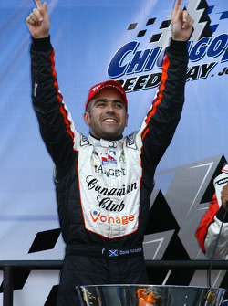 Victory lane: Dario Franchitti celebrates the win and the 2007 IndyCar Series championship