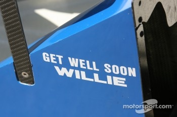 Get Well message on side of Jon Herb car for crew member injured