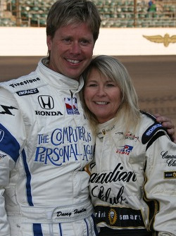 Vision Racing driver Davey Hamilton poses with a local radio celebrity