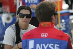 Marco Andretti and Danica Patrick talk before qualifying