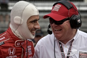 Chip Ganassi and 2010 IndyCar Champion Dario Franchitti share a moment at the Indy 500