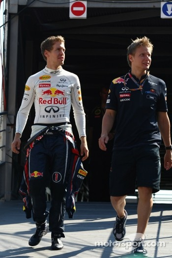 Sebastian Vettel, Red Bull Racing with his trainer Tommi